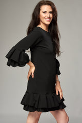 Black Mini Dress with Double Pleated Sleeves and Hem