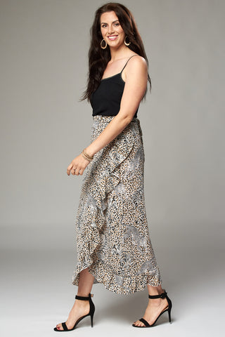 Tiger and Leopard Print Wrap Fill Maxi Skirt