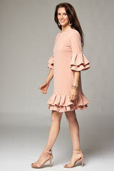 Pale Pink Mini Dress with Double Pleated Sleeves and Hem