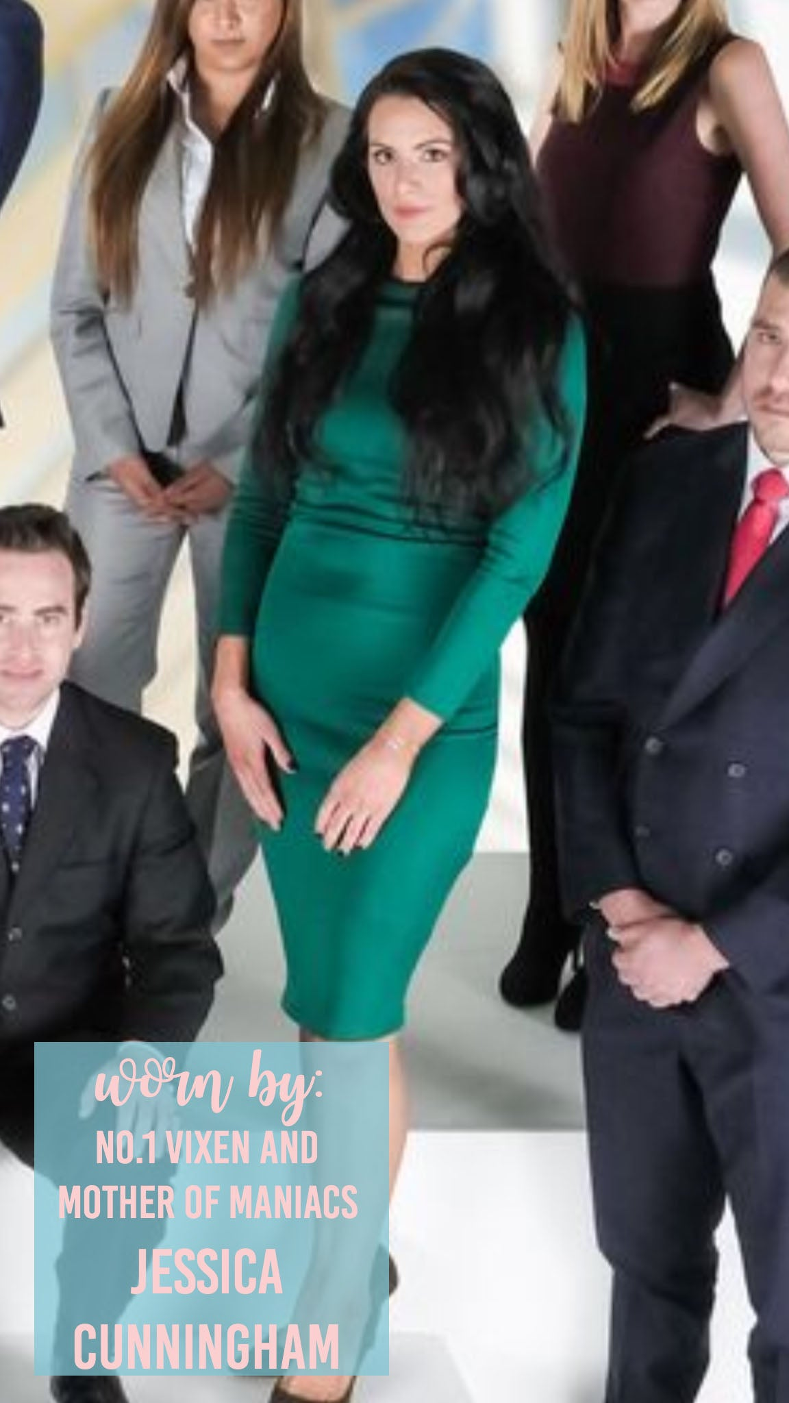 Jessica Cunningham 3/4 Length Green Dress Fitted