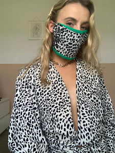 Green Face Mask With Black And Cream Animal Print