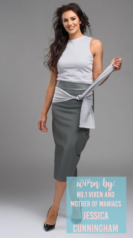 Office Wear Fitted Grey Leather Look Skirt Light Grey Belt Light Grey Polo Neck Top