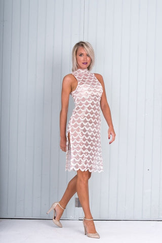 #Celandine-Pink and Nude Sequin Evening Dress