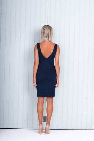 Body Con Dress Navy Blue V Neck Knee Length