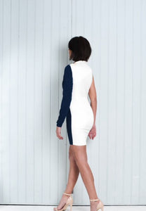 Navy Blue / Ivory Half and Half Short Dress One Shoulder