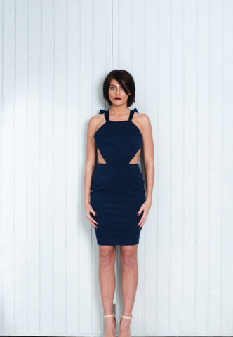 Navy Blue Dress Backless Top Knee Length Pencil Skirt