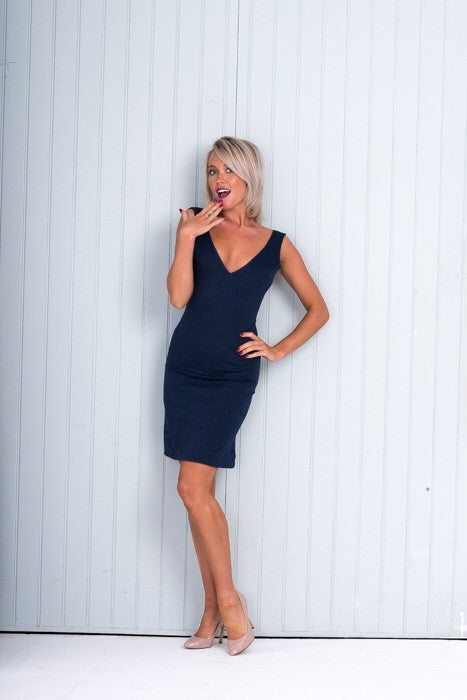 ORCHID Body Con Dress Navy Blue V Neck Knee Length