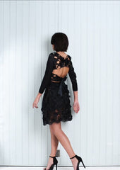 BLACK Silk Body Skater Skirt Lace Detail Knee Length