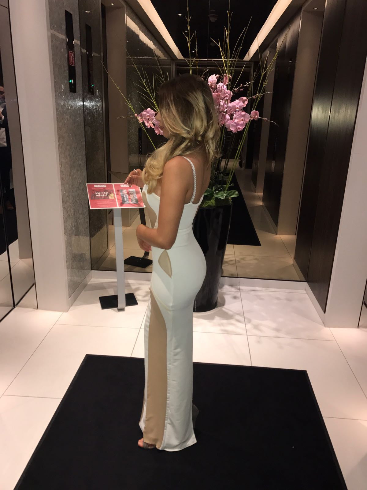 Long Bodycon Dress Nude and White Diamond Cut Outs