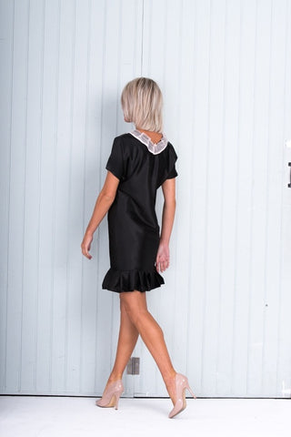 Black Silk Shift Dress Round Neck Pleated Hem