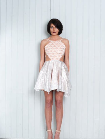 Backless Dress Silver Skater Skirt Pink Sequin Top