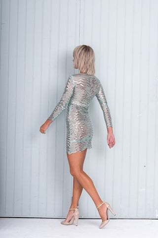 Silver / Green Short Sequin Dress Fitted Long Sleeves