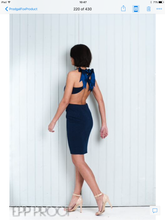 Load image into Gallery viewer, Navy Blue Dress Backless Top Knee Length Pencil Skirt