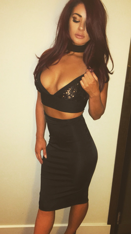 Black Lace Two Piece Bralette Top Knee Length Skirt