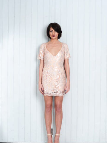Handmade Peach Short Dress Sheer Silver Sequin Overlay V Neck Back