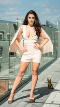 Load image into Gallery viewer, Dove Grey Play Suit With V Neckline And Split Sleeve Detailing