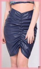 Navy Blue Leatherette Skirt Gathered Slim Fit