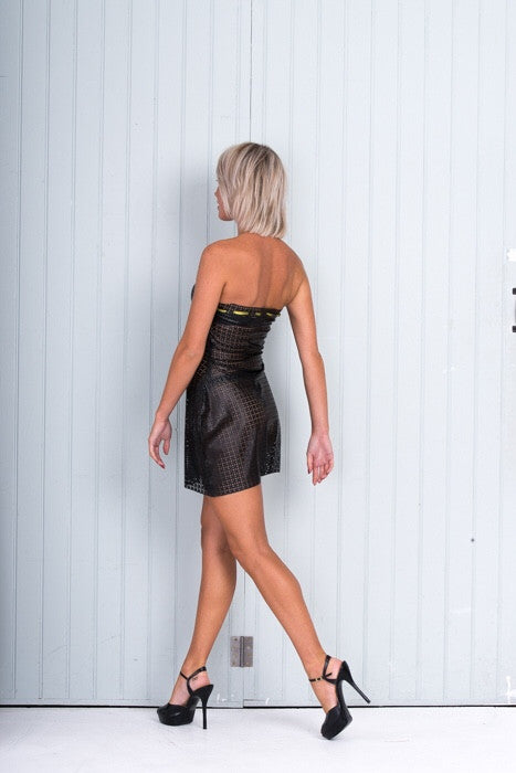 Black Short Leather Look Evening Dress.