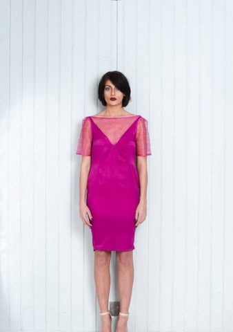 Pink Midi Dress With Sort Sleeves