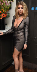 Olivia V Kim K. Black Short Gathered V Neck Dress.