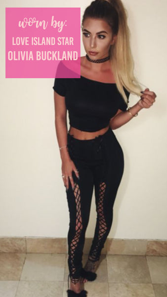 Lace up Black Trousers And Black Cropped Top