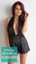 Load image into Gallery viewer, Black Silk / Satin Playsuit V Neck Shorts Gathered Waist