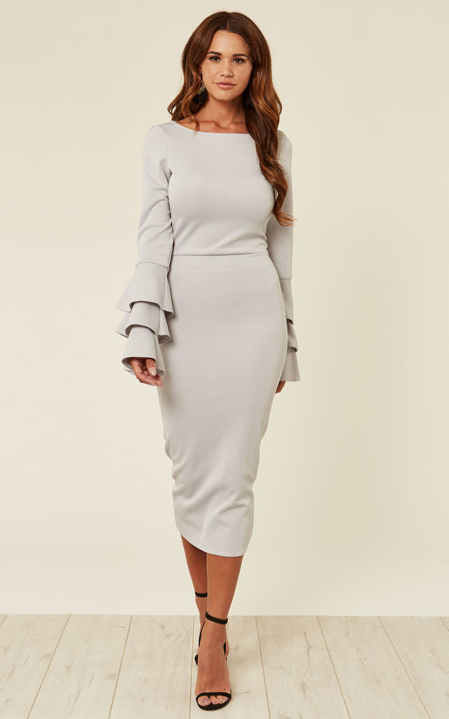 Below The Knee Length Fitted Dress Long Sleeve With Frill Detail