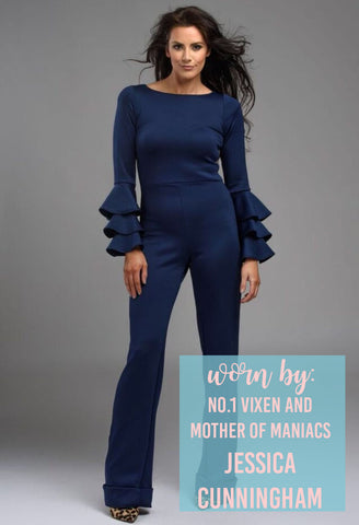 Women's Business Wear Navy Blue Jumpsuit Flared Leg Slim Fit Frill Sleeves
