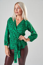 Load image into Gallery viewer, Green & Black Leopard Print Wrap Blouse with Balloon Sleeves