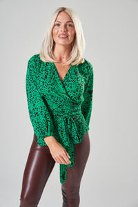 Green & Black Leopard Print Wrap Blouse with Balloon Sleeves