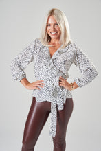 Load image into Gallery viewer, White & Black Dalmatian Spot Wrap Blouse with Frill and Balloon Sleeves