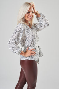 White & Black Dalmatian Spot Wrap Blouse with Frill and Balloon Sleeves