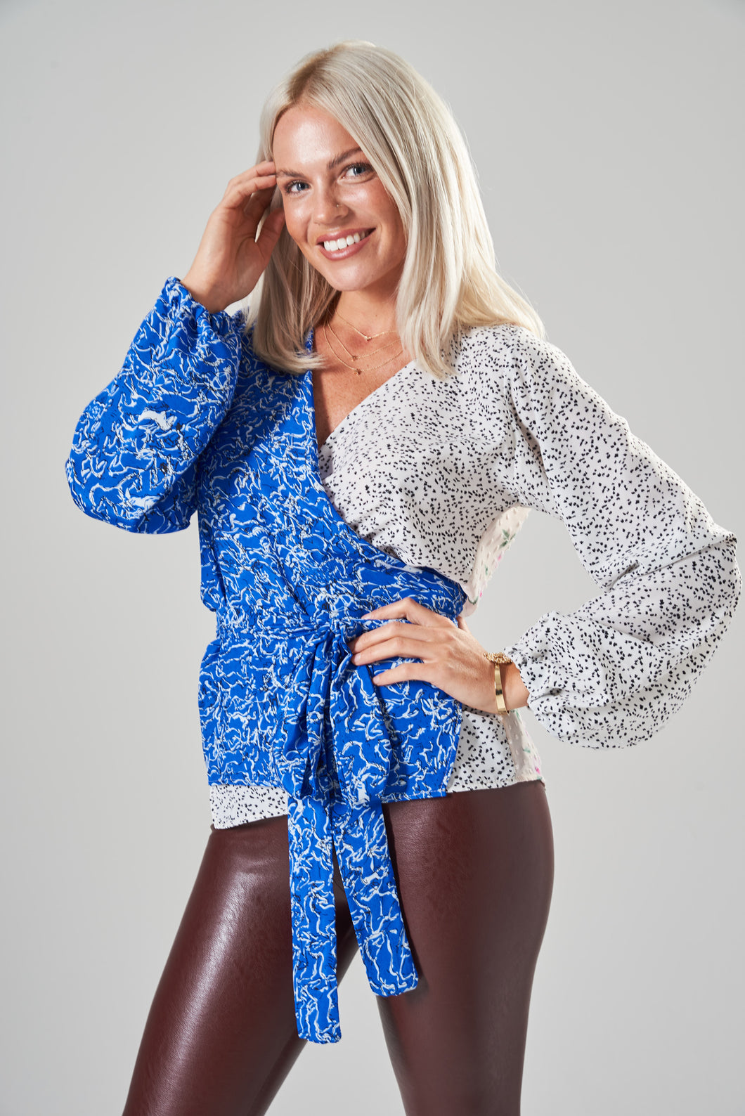 Stella Blue, White & Floral Mix Print Wrap Blouse with Balloon Sleeves