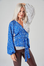 Load image into Gallery viewer, Stella Blue, White & Floral Mix Print Wrap Blouse with Balloon Sleeves