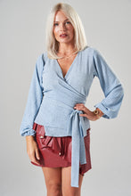 Load image into Gallery viewer, Light Blue & Turtle Print Wrap Blouse with Balloon Sleeves