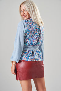 Light Blue & Turtle Print Wrap Blouse with Balloon Sleeves