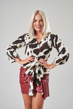 Load image into Gallery viewer, Cow Print Wrap Blouse with Balloon Sleeves