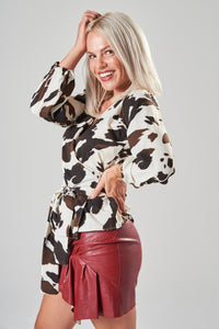 Cow Print Wrap Blouse with Balloon Sleeves
