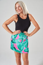 Load image into Gallery viewer, Green & Pink Wrap Mini Skirt