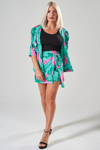 Green & Pink Jacket with Puff Sleeves