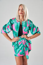 Load image into Gallery viewer, Green & Pink Jacket with Puff Sleeves