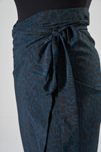 Load image into Gallery viewer, Teal Leopard Print Mid Length Wrap Skirt