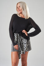 Load image into Gallery viewer, Black & White Animal Print Wrap Mini Skirt