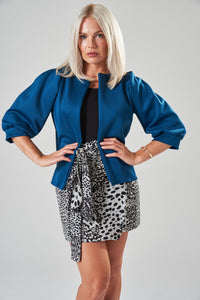 Teal Jacket with Puff Sleeves