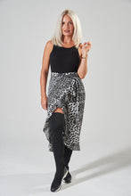 Load image into Gallery viewer, Black & White Animal Print Midi Wrap Skirt with Frill