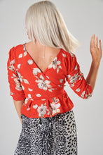 Load image into Gallery viewer, Red Floral Wrap Blouse with Ruched Sleeves and Frill Hem