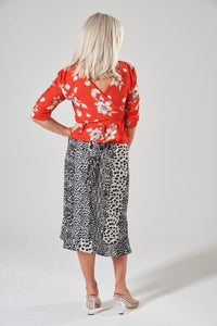 Black & White Animal Print Midi Wrap Skirt with Frill