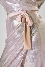 Load image into Gallery viewer, Pink & Gold Sequin Midi Wrap Dress