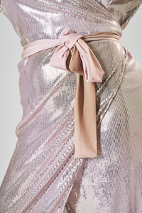 Pink & Gold Sequin Midi Wrap Dress