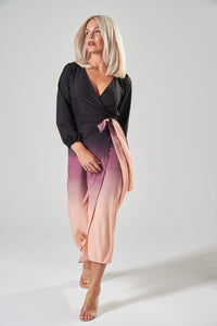 Black & Peach Ombre Wrap Midi Dress with Balloon Sleeves